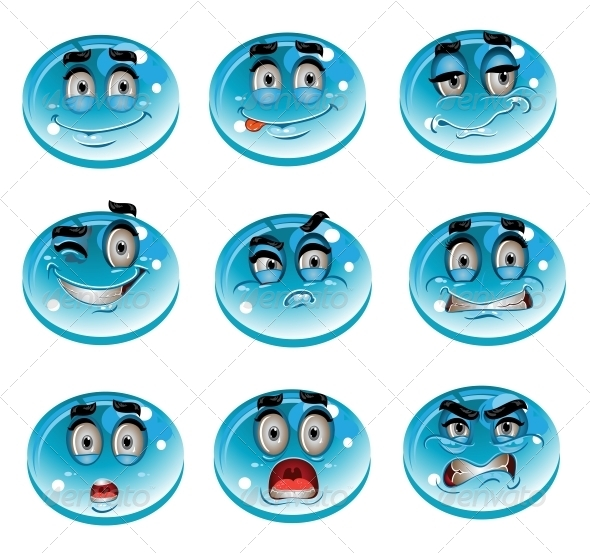 Water Drops Smiles - Miscellaneous Characters