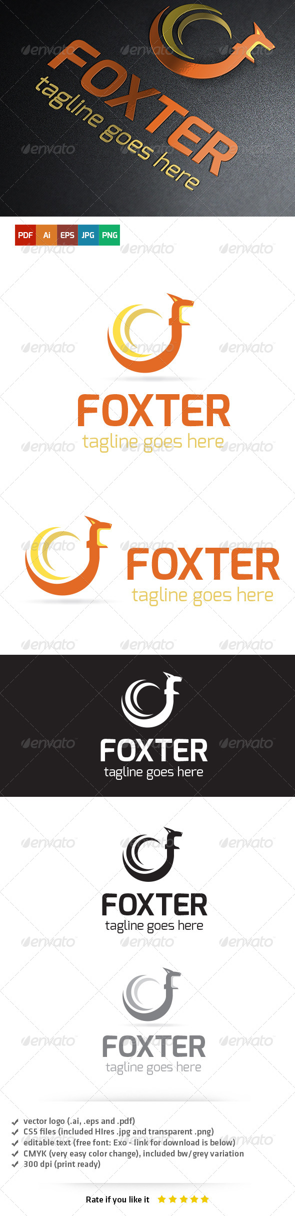 Foxter Logo Template - Animals Logo Templates
