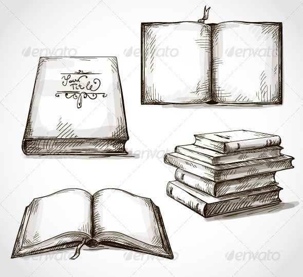 Set of Old Books Drawings - Vectors