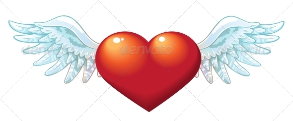 Valentine's Day Heart with Wings - Valentines Seasons/Holidays
