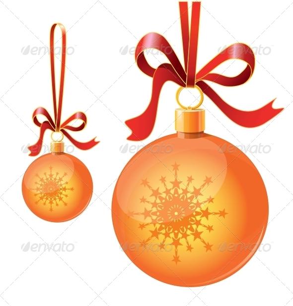 Christmas Balls on Ribbons - Christmas Seasons/Holidays