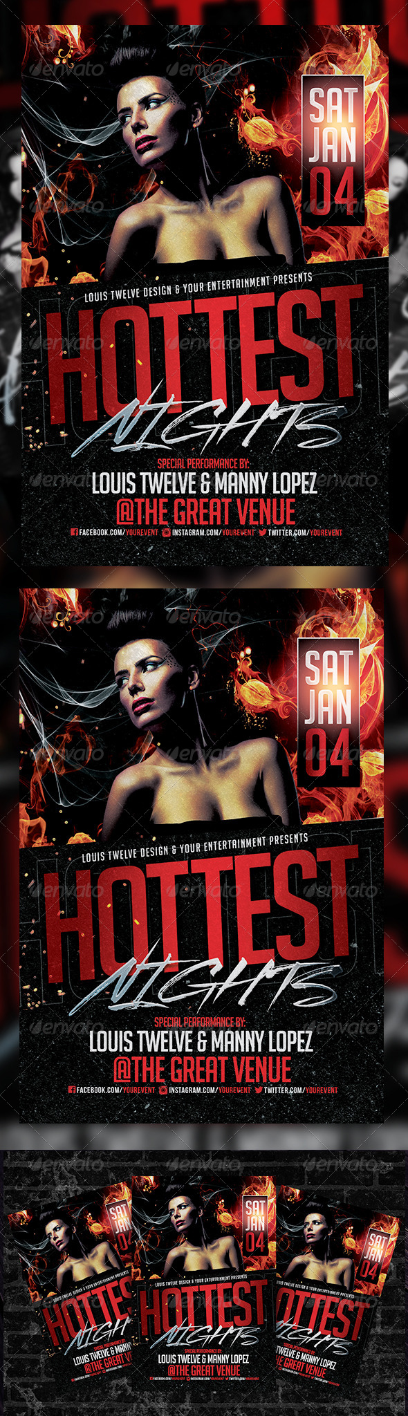 Hottest Nights Flyer Template - Clubs & Parties Events