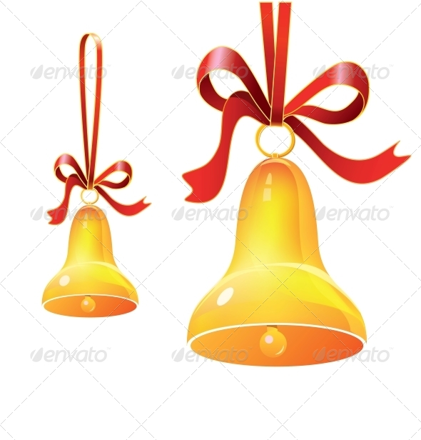 Christmas Bell with Red Ribbon - Miscellaneous Seasons/Holidays