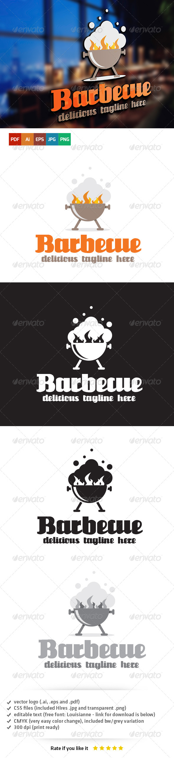 Barbecue Logo Template - Food Logo Templates