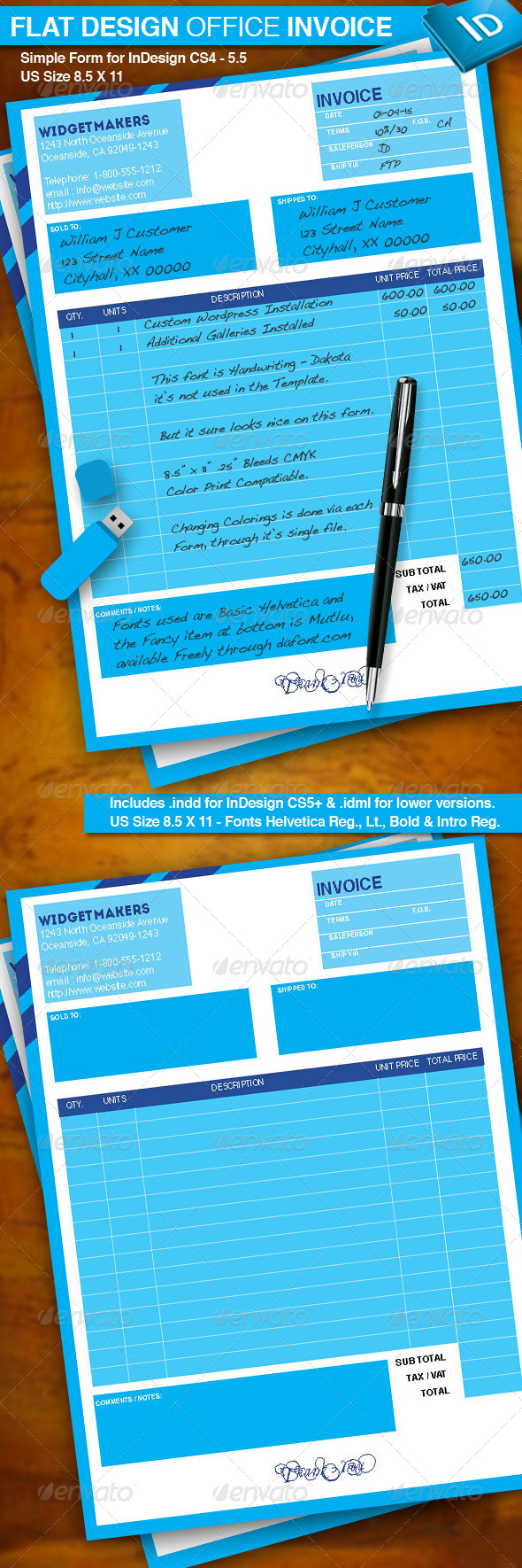 Flat Design Office Invoice - Proposals & Invoices Stationery