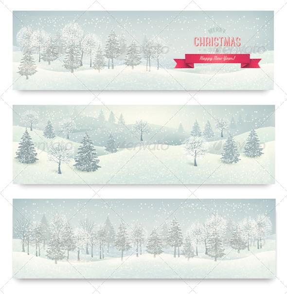 Three Christmas Landscape Banners - Christmas Seasons/Holidays