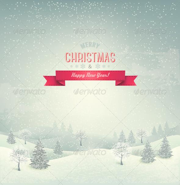 Retro Holiday Christmas Background - New Year Seasons/Holidays