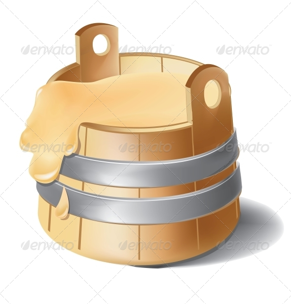 Wooden Barrel of Honey with Metal Silver Clamps - Food Objects