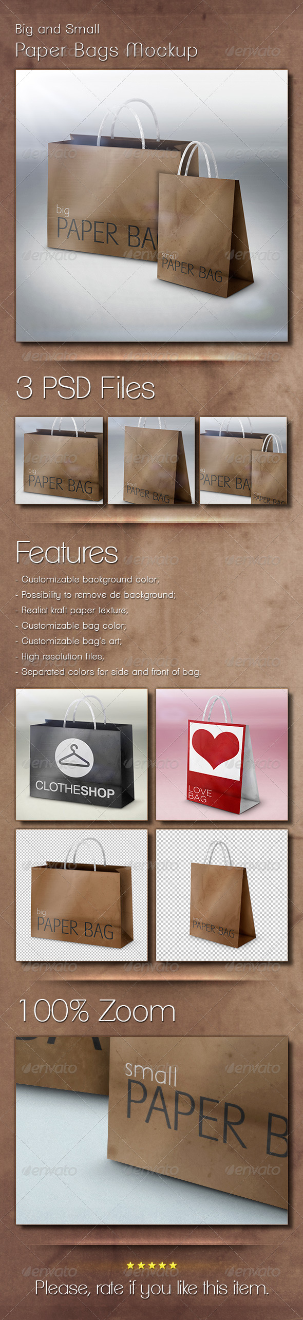 Big and Small Paper Bags Mockup - Graphics