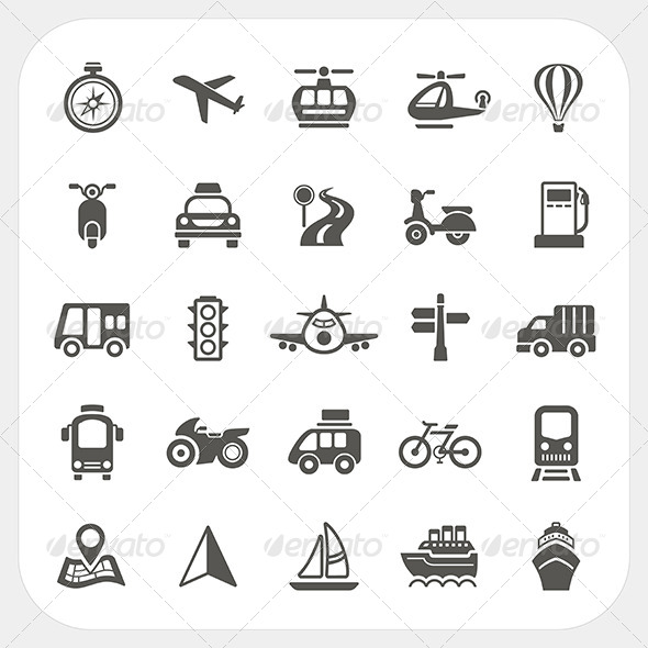 Transportation Icons Set - Travel Conceptual