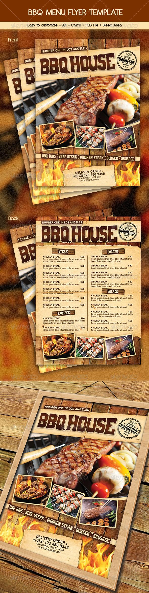 BBQ / Steak Menu Flyer - Food Menus Print Templates
