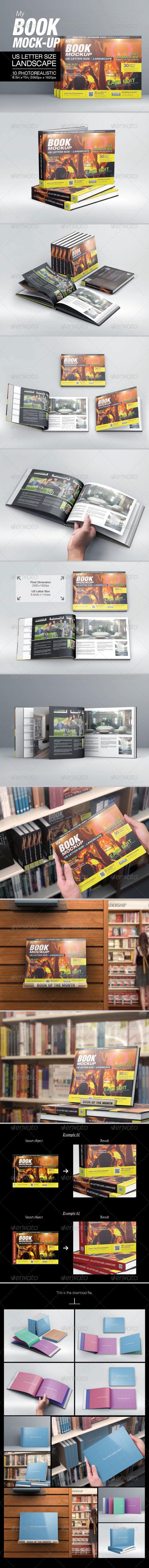 MyBook US Letter Size Landscape Mock-up - Books Print