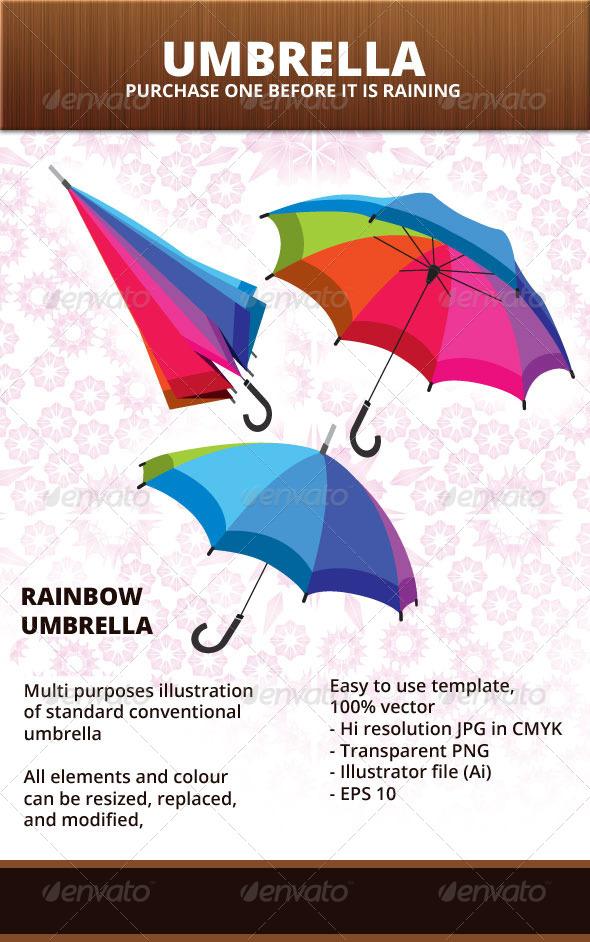 Rainbow Umbrella - Man-made Objects Objects