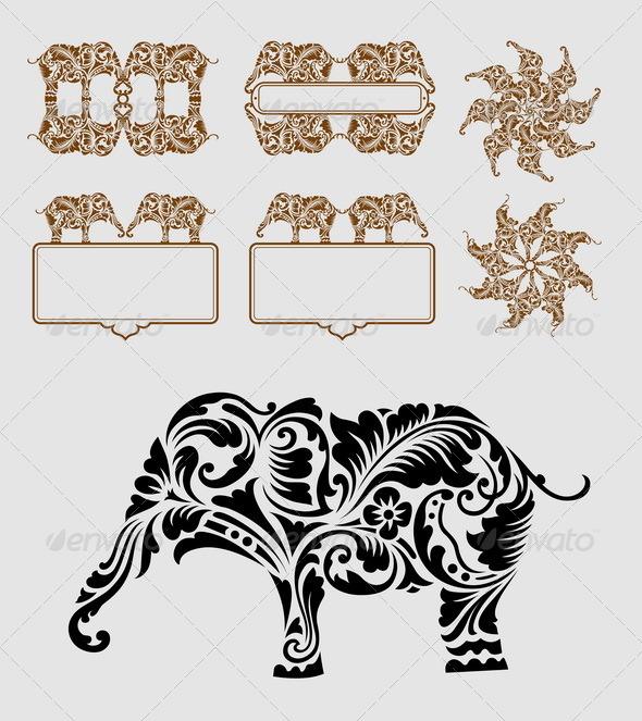 Elephant Element Decoration - Decorative Symbols Decorative