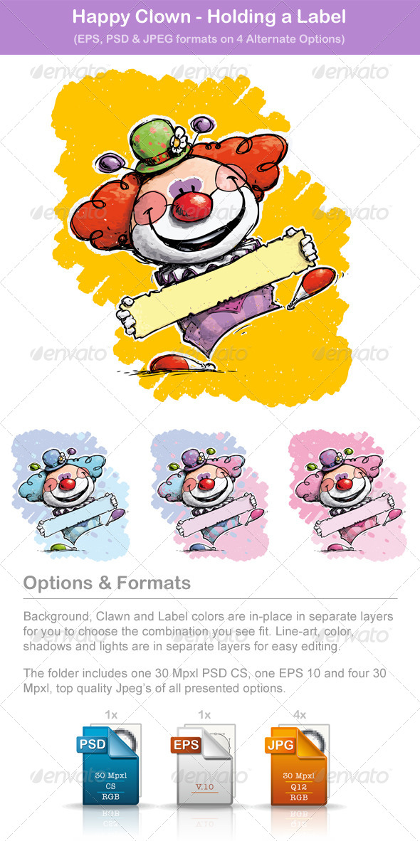 Happy Clown - Holding Label - People Characters