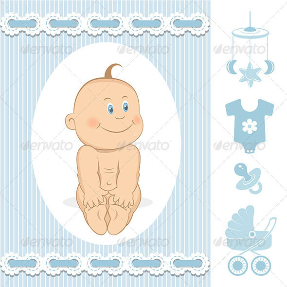 Cute Baby Boy - Decorative Vectors