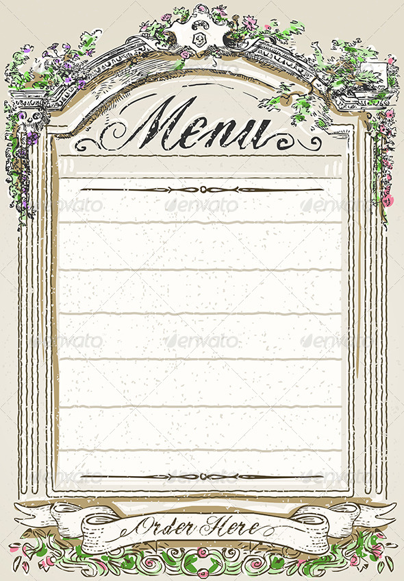 Vintage Graphic Page for Restaurant Menu - Backgrounds Decorative