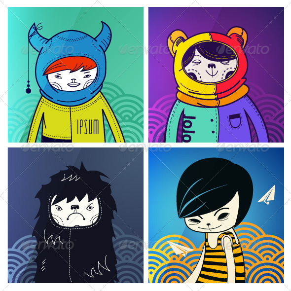 Modern Funny Characters Hipsters - Characters Vectors
