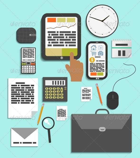 Set of Office and Business Work Elements - Concepts Business