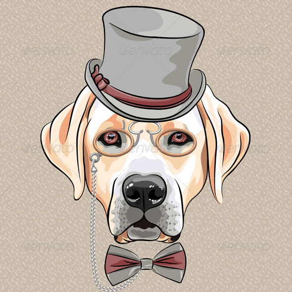 Cartoon Hipster Dog Labrador Retriever - Animals Characters