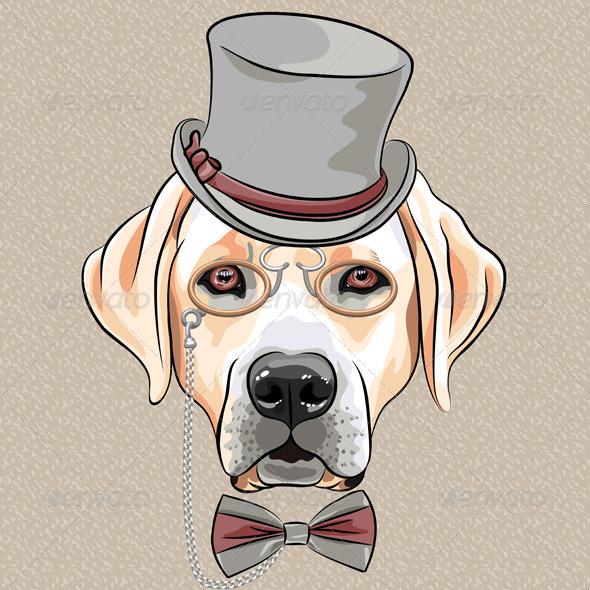 Cartoon Hipster Dog Labrador Retriever - Animals Characters