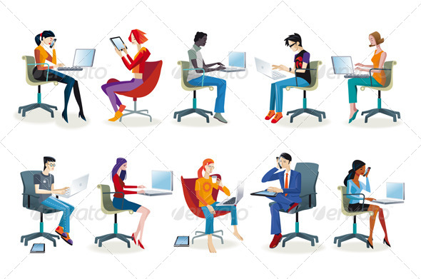 Set of People Working Sitting - People Characters