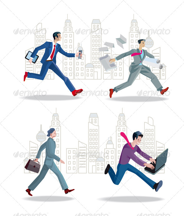 Businessmen Running in the City - Business Conceptual