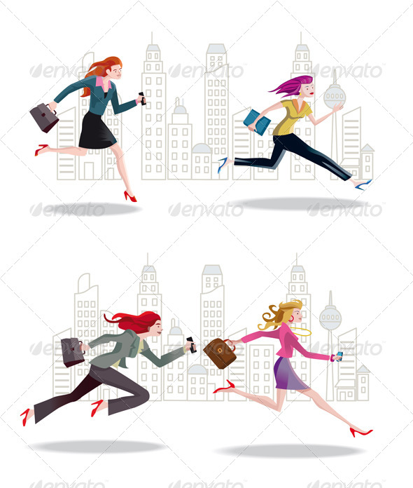 Businesswomen Running in the City - Business Conceptual