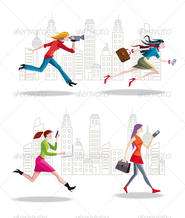 Entrepreneurs Women Running in the City - Business Conceptual
