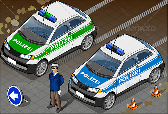 Isometric German Police Car - Objects Vectors