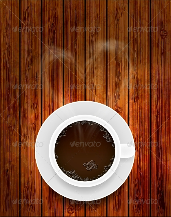 Vector Coffee Cup on Wooden Background  - Food Objects