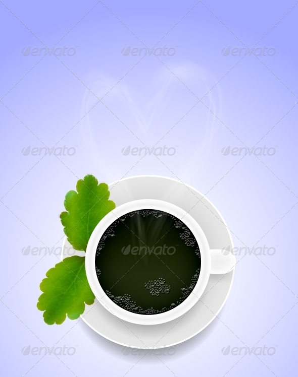 Vector Cup of Tea with Green Leaf - Food Objects