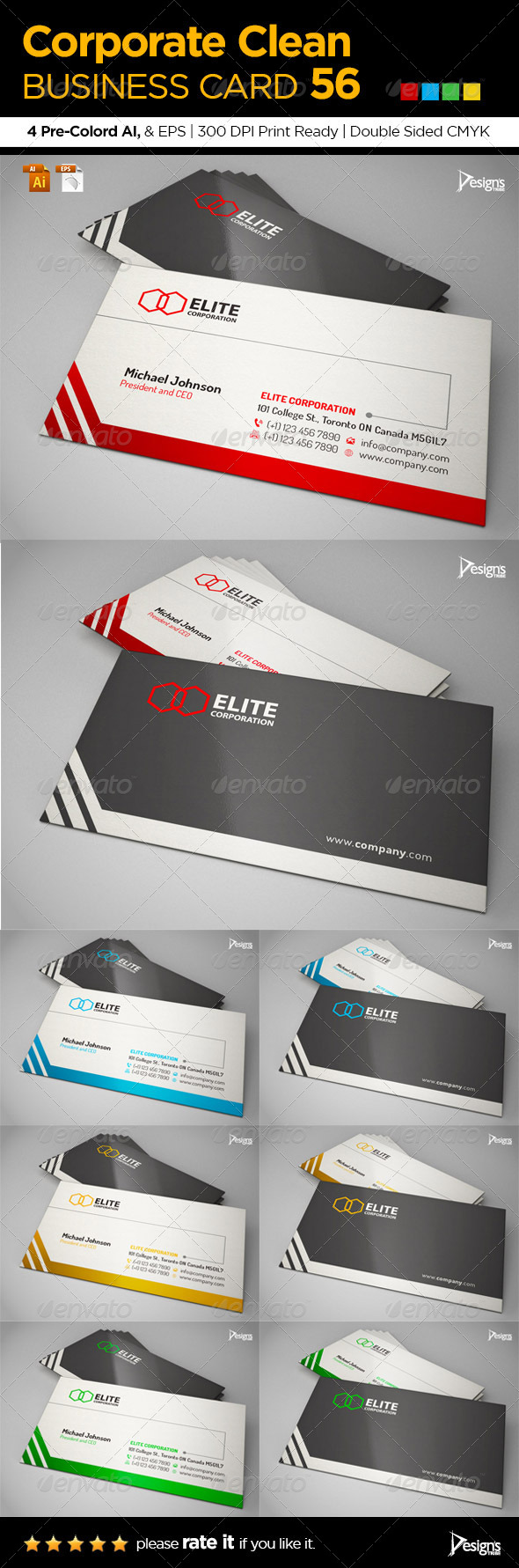 Corporate Clean Business Card 56 - Business Cards Print Templates