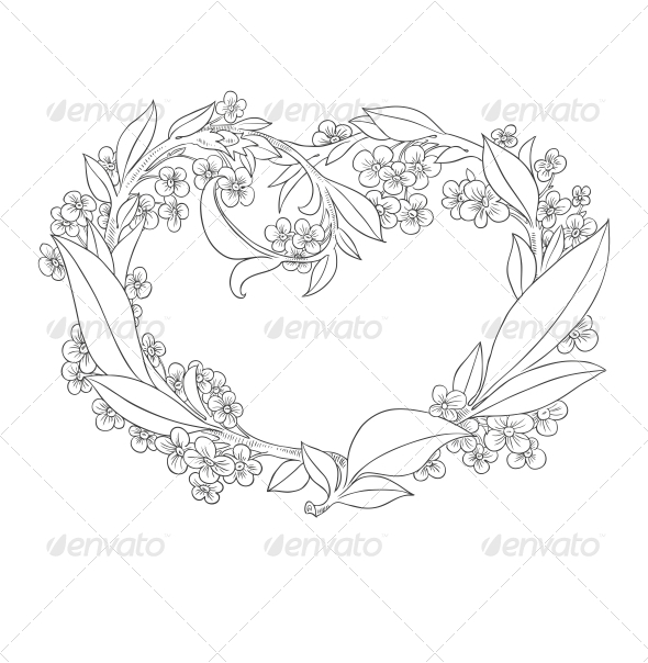 Heart from Flowers  - Decorative Symbols Decorative