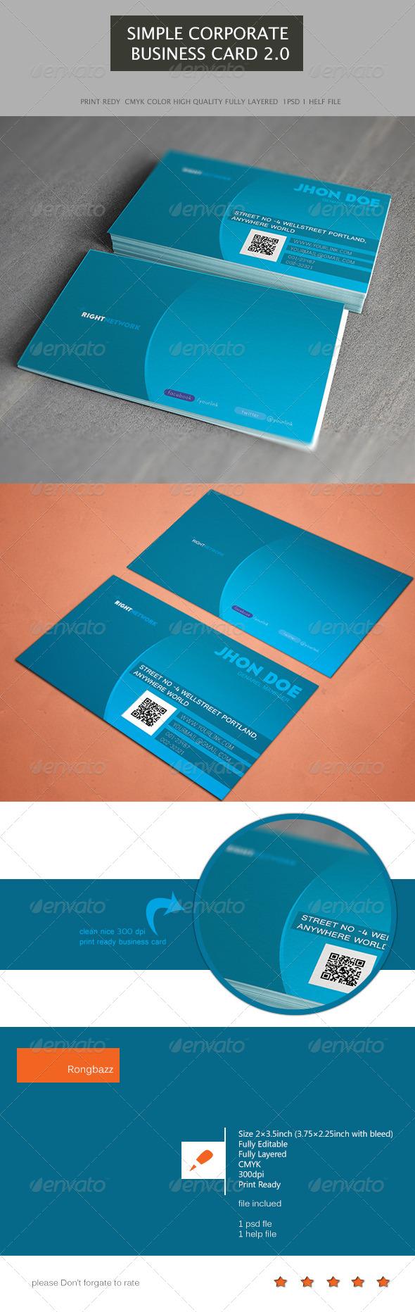 Simple Corporate Business Card 2.0 - Corporate Business Cards