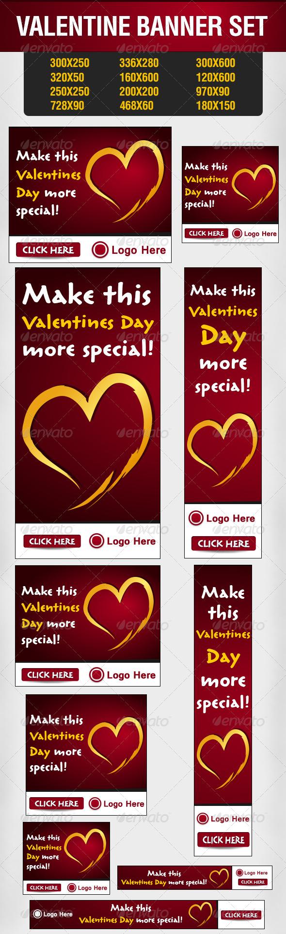 Valentine Banner Set - Banners & Ads Web Elements