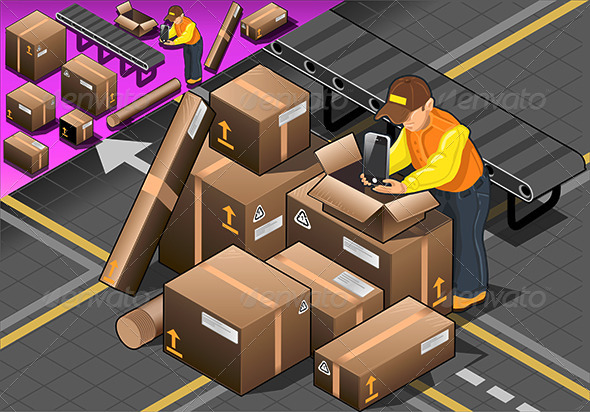Isometric Packer at Work with Boxes - People Characters