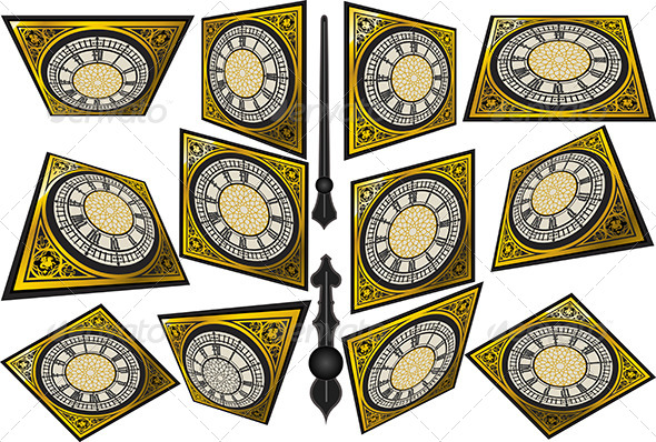 Set of Victorian Clocks with Lancets - Objects Vectors