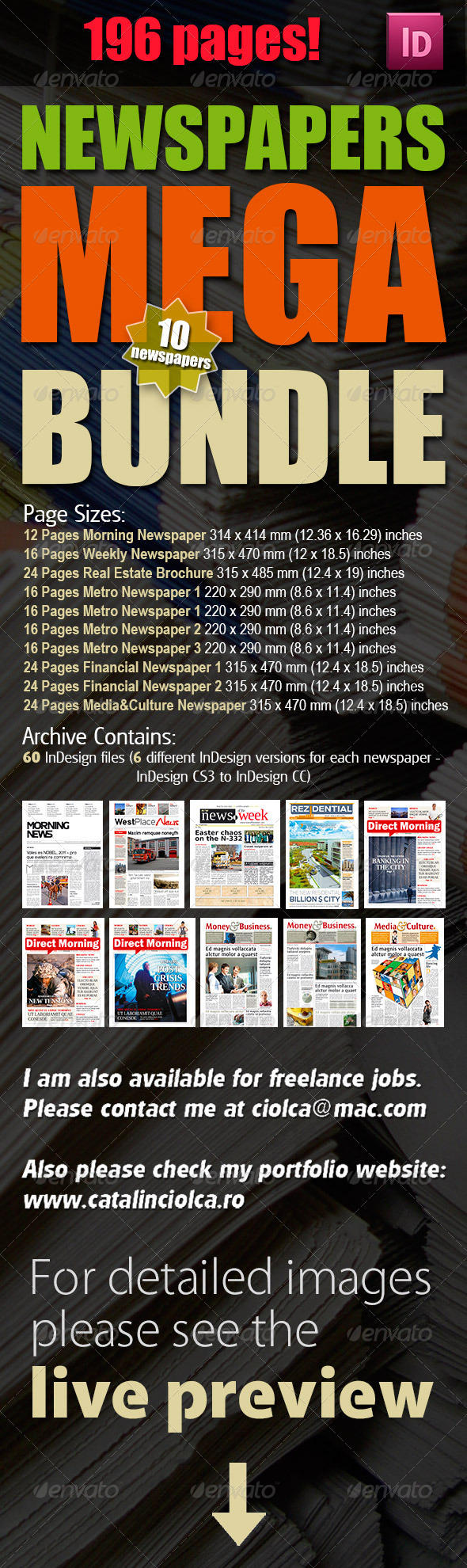 10 Newspapers Mega Bundle - Newsletters Print Templates
