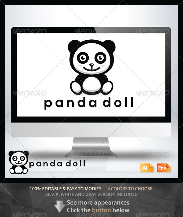 Panda Doll - Animals Logo Templates