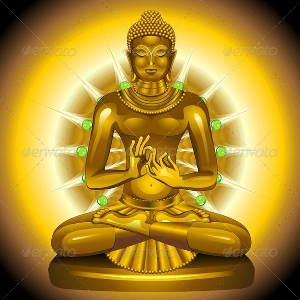 Buddha Gold and Emeralds Statue  - Religion Conceptual