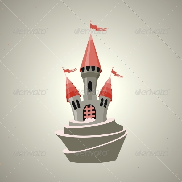 Cartoon Fortified Castle with Flags - Buildings Objects