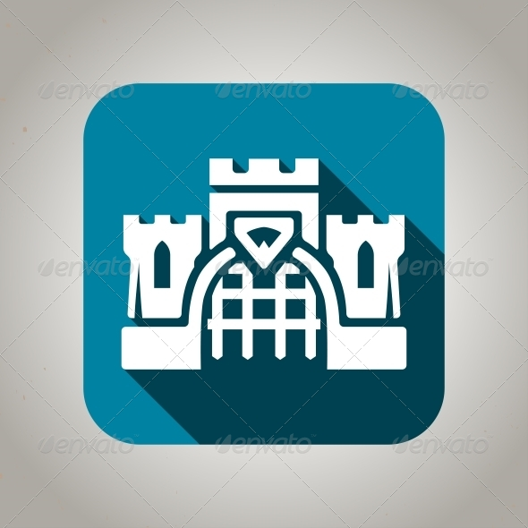 Flat Blue Castle Icon - Buildings Objects