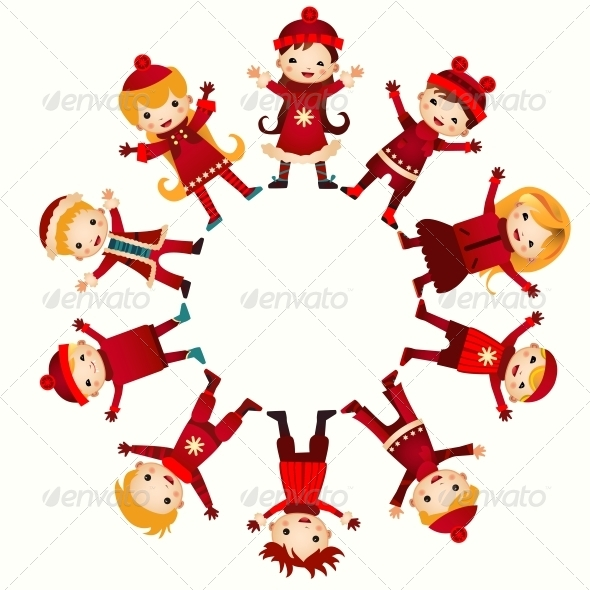 Christmas Children in Circle - People Characters