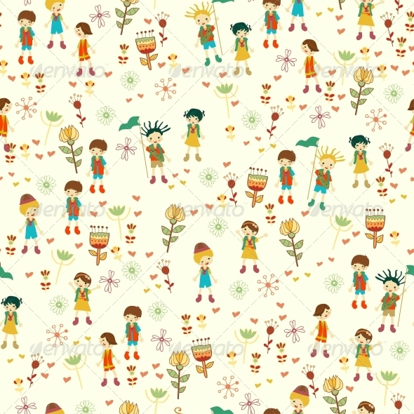 Bright Nature Seamless Pattern in Cartoon Style - People Characters