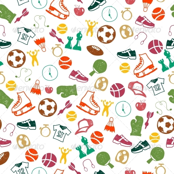 Seamless Pattern with Sport Icons - Sports/Activity Conceptual