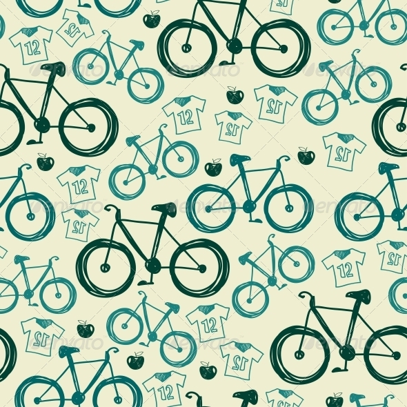 Vector Seamless Pattern with Bicycles - Patterns Decorative