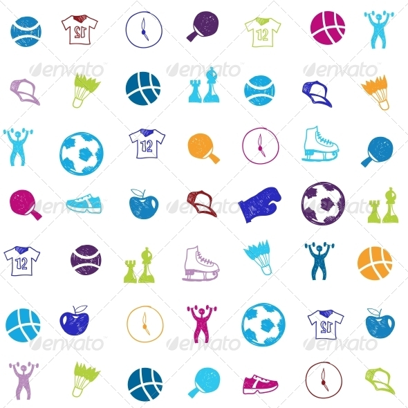 Vector Bright Sports Icons Set - Sports/Activity Conceptual