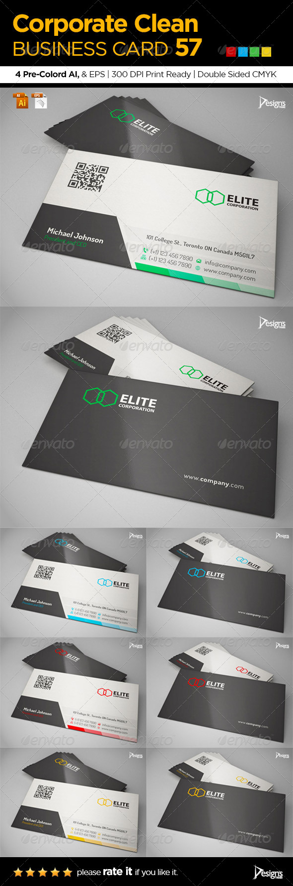 Corporate Clean Business Card 57 - Business Cards Print Templates