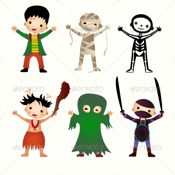 Illustration of Kids in Halloween Costumes - People Characters